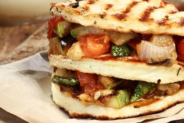 Mille-Feuille with Talagani and grilled vegetables